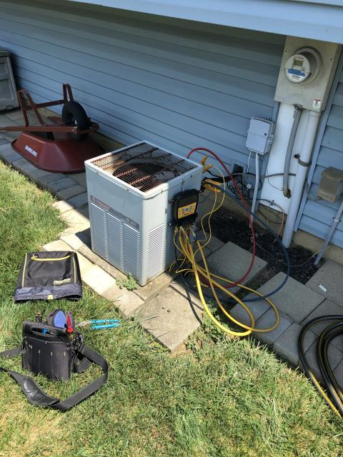 Canal Winchester, OH - Upon arrival found condenser fan motor is burned up, Due to age of system and cost of repairs, replacing the OEM Condenser Fan Motor and Capacitor, customer is doing a new system install, System not operational at departure.