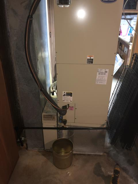 Johnstown, OH - Water around 2001 Carrier furnace.Confirmed proper operation of condensate pump. Confirmed proper drainage of evap coil drain line. Found pressures close to freezing. Found cleanable filter dirty. I Pulled and cleaned.