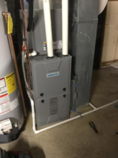 Pickerington, OH - Found restriction in primary drain on Comfortmaker furnace. Cut and cleared line. Recommend annual maintenance.