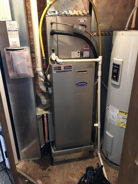 Lewis Center, OH - Coil was iced over and leaking water,Need to replace blower motor with capacitor, did not have a 115v tps motor, will need to order motor and return to complete repairs, Customer wants to move forward with repairs. The 2012 Carrier System not operational at departure.