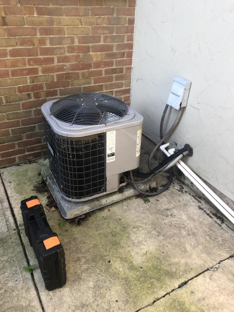 Columbus, OH - Tuneup and safety check on Comfortmaker AC. Furnace is actually shared with apartment next door and did not have access to inspect. Outdoor unit was making a loud noise. Cleaned the condenser off and added a rubber pad, which eliminated the noise.
