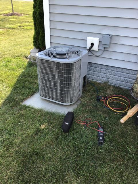 Pataskala, OH - Replaced condenser fan motor on Carrier AC and then found unit low on refrigerant. Recommend electronic leak check and made customer aware that the system will struggle to satisfy thermostat.