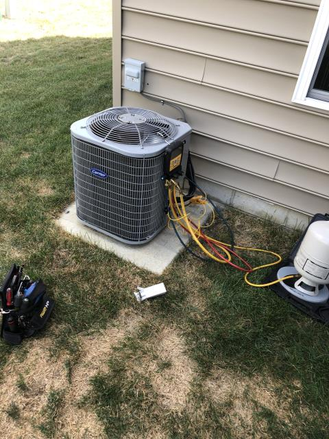 Dublin, OH - I replaced the Compressor-Motor Surge Capacitor and added 2 pounds of Refrigerant R-410A Puron on a 2014 Carrier