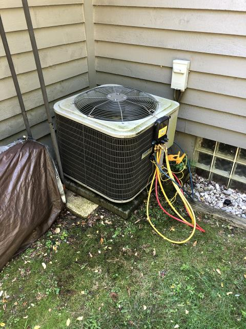 Dublin, OH - Upon arrival  found the condenser fan not operational, found the dual capacitor bad,I Replaced capacitor. The 2014 Trempstar system kicked on operational normal,