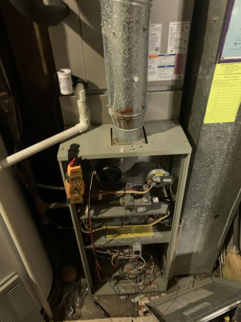 Westerville, OH - Found pressure switch error on the 1986 Trane.  Removed old tubing and added new. Cleared out port and furnace fires up no problem. But then cuts in and out. Pressure switch closes at .50inWC INDUCER motor pulls a continuous .9-1inWC. indicating inducer motor pulling as should enough to successfully close pressure switch every time . circuit board acts sporadic, sequence of operation reaches igniter, igniter glows, then falls out, and does not reach ignition. Pressure switch fault was a false code. Circuit board needs replaced