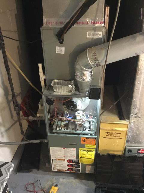 Columbus, OH - Upon arrival found the 2003 Rheem furnace not operational, Was showing led code 4 with a 2 second pause, pressure switch stuck closed, Took hose off and got switch to reopen, system kicked on operational normal, Pressure switch is intermittent, inducer is pulling enough inwc , Quoting a pressure switch, customer isn't interested at this time, System operational at departure.