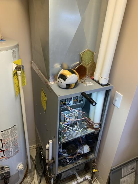 Galena, OH - Upon arrival I found the 2012 Concord furnace was not operational, kicking flames out due to fresh air intake issues, customer had roofers over and they installed a metal vent cap on pvc exhaust on roof to stop water leaking, System needs a concentric kit installed in attic to prevent leaking and also furnace operation within manufacture specs, Cut fresh air intake pipe above furnace to temporary get customer heat , unit we can return for repairs, Furnace operational at departure.