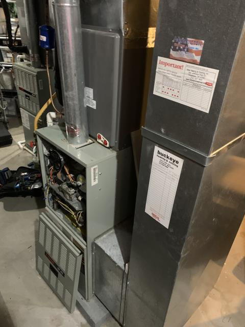 Alexandria, OH - I am Performing our Five Star Tune-Up & Safety Check on a  1994 Trane Gas Furnace. All readings were within manufacturer's specifications, unit operating properly at this time.