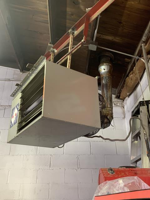 Johnstown, OH - Hanging furnace in auto body shop The exhaust is cracked/leaky Exhaust needs replaced at furnace