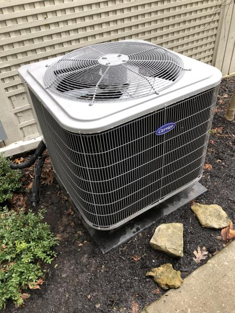 Dublin, OH - I completed a diagnostic on a Carrier heat pump with an electric furnace.  Upon arrival found that the heat pump was not operational.  Determined that the unit is low on pressure.  Performed an electronic leak search and found leak.  Will need a return service to repair the leak.  System is operational in auxiliary heat mode.