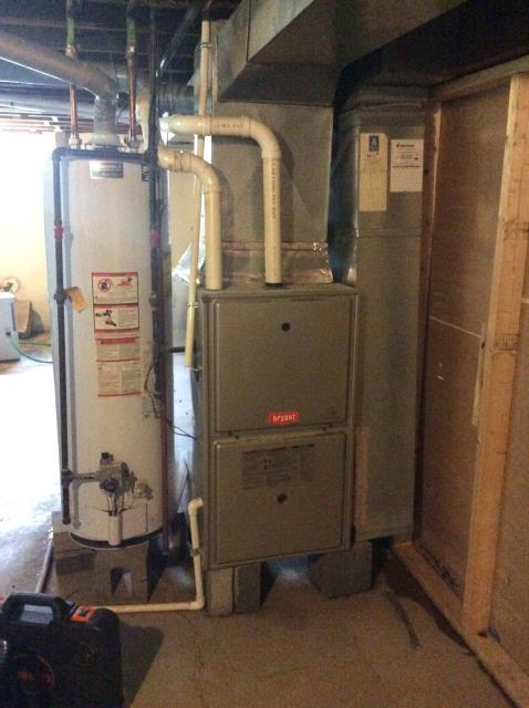 Pickerington, OH - Upon arrival for tune up safety check on 2009 Bryant furnace, I changed the filter with customer provided filter and pulled and cleaned the flame sensor. I also noticed with heat exchanger had some heat spots forming and the inducer motor was slightly overamping which may cause problems in the future. The system runs hot but does not trip limit switch and is oversized for home. The unit is operational at departure.