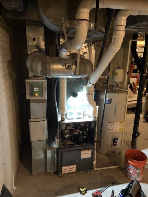 Lewis Center, OH - Upon arrival for service call on 2017 Goodman furnace, furnace kicking on and off not staying lit. Found inducer motor to be failing and full of water. Drained inducer motor and now furnace is staying on. Will recommend replacing inducer motor, as the part is out of spec. Also customer said that this has happened before. Will ask customer about replacing system as well. Furnace operating and blowing heat upon departure.