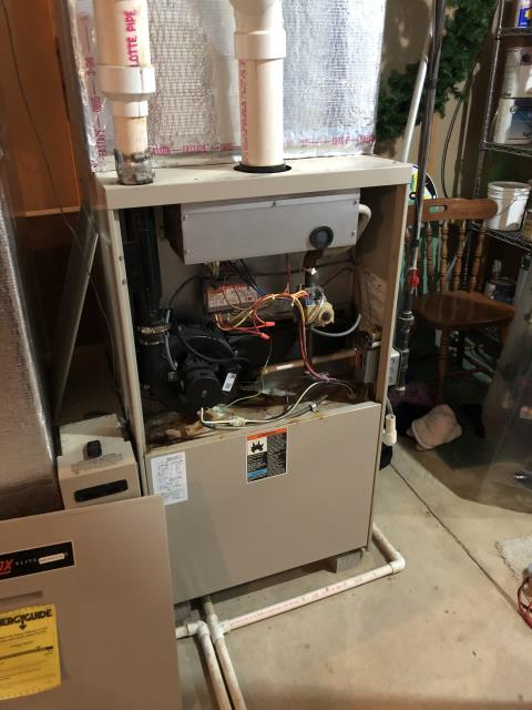 Galena, OH - Upon arrival for service call on 1996 Lennox furnace, found system not getting 24 volts between R and C this is due to system having overheated due to blower motor not coming on. I found blower never got 120 from the board. Board is bad and will need replaced customer would like to go ahead with repair. I was able to get customer temporary heating by jumping the fan to l1.