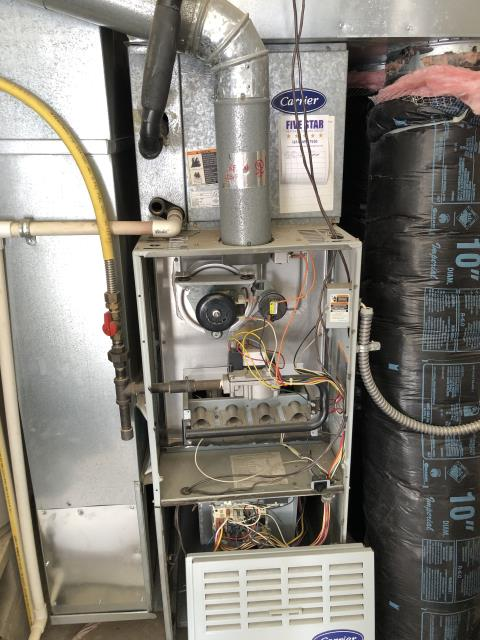 Lewis Center, OH - Upon arrival for service call on 2002 Carrier furnace, receiving code 12. Code 12 is blower on after power up. After getting system running, I noticed blower would stop running and found cap reading low. I tried new cap but this didn't help, bearing in motor is bad and causing unit to lock up this was most likely due to dirty filter. Quoted customer necessary repair. Overall health of rest of the system seems to be in decent shape. Customer to reach out about repair.