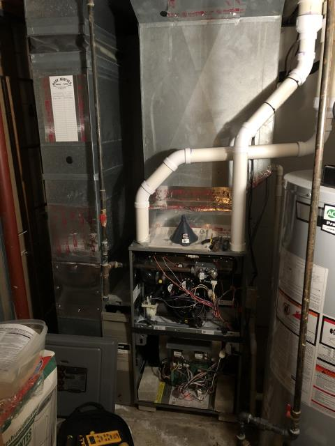 Powell, OH - Upon arrival for service call on 2018 Rheem furnace, furnace not lighting. Furnace circuit board was wired incorrectly using all 5 wires from AC to board instead of 2. Corrected the wiring and furnace is working and blowing hot air.