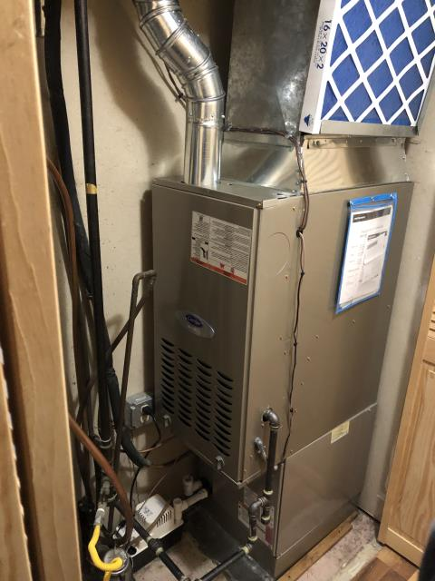 Reynoldsburg, OH - I replaced the OEM Inducer motor assembly on a 2021 Carrier infinity Series 80% 2 stage variable speed 45,000 BTU Gas Furnace. System was operational at time of departure.