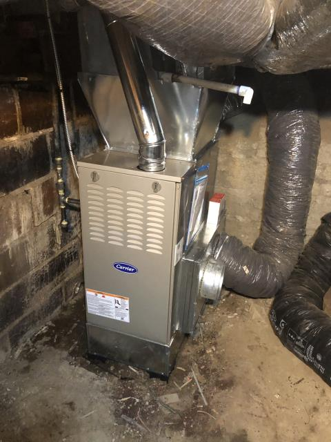 Etna, OH - I completed an installation inspection on a Carrier 80% 45,000 BTU Gas Furnace.  Completed installation checklist.  Cycled and monitored the system.  Operating normally at this time.