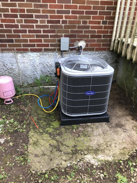 Fairborn, OH - 	 When arrived, AC was still running. Customer said system was not cooling. Checked encased coil. Completely frozen. Informed customer to run the fan. Advised the customer to check at the end of the day to see if it is defrosted. Scheduled to come out when unit is no longer frozen