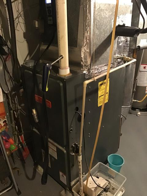 Miamisburg, OH - 2014 Goodman gas furnace leaking water, condensate drain and trap needed replaced