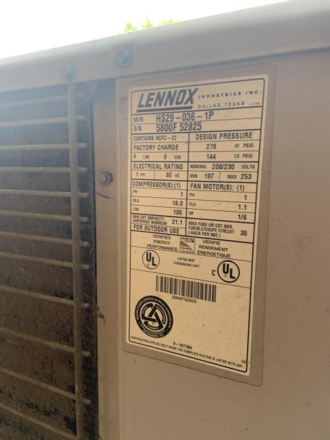 Beavercreek, OH - 	I Performed a Tune Up & Safety Check on a 2000 Lennox Air Conditioner unit. The system is ready for the season.