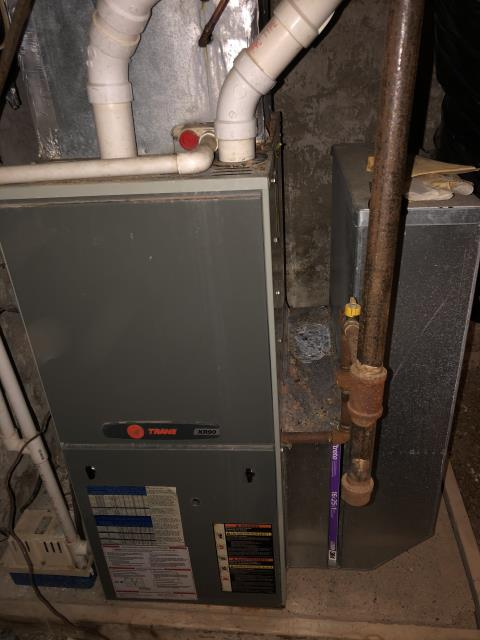 Yellow Springs, OH - Upon arrival client stated that 1 of the 4 burners would not ignite every time. Used Tstat wires to unclog burner manifold. Pulled and cleaned flame sensor. Found fresh air intake clogged.