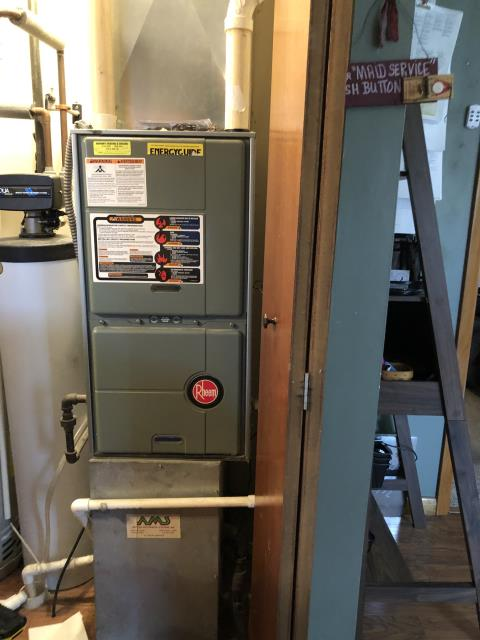 Jamestown, OH - I completed a diagnostic on a Rheem gas furnace.  Determined that the thermostat had a wiring issue with the furnace.  Rewired thermostat.  I cleaned the flame sensor.  Cycled and monitored the system.  Operating normally at this time.