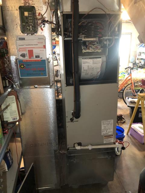 Port William, OH - I completed a diagnostic on a Nordyne heat pump with an electric air handler.  Upon on arrival client stated that he was fishing around in his air handler trying to figure out the issues himself.  Upon inspection I noted that the heat kit wire were melted off and together.  The relay has melted.  I gave the client an estimate to replace the heat kit.  Client authorized repairs.  Parts to be ordered.  Per client's request the unit was turned off.
