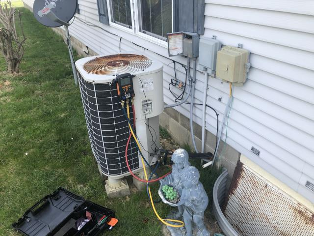 Xenia, OH - I completed spring tune up on a Colman heat pump.  I visually inspected the furnace.  I inspected the evaporator coil.  I checked the temperature difference across the coil.  Checked voltage and amps.   Inspected heat pump.  Checked refrigerant charge, voltages and amps.  I rinsed the condenser coils with water.  Cycled and monitored the system.  Operating normally at this time.