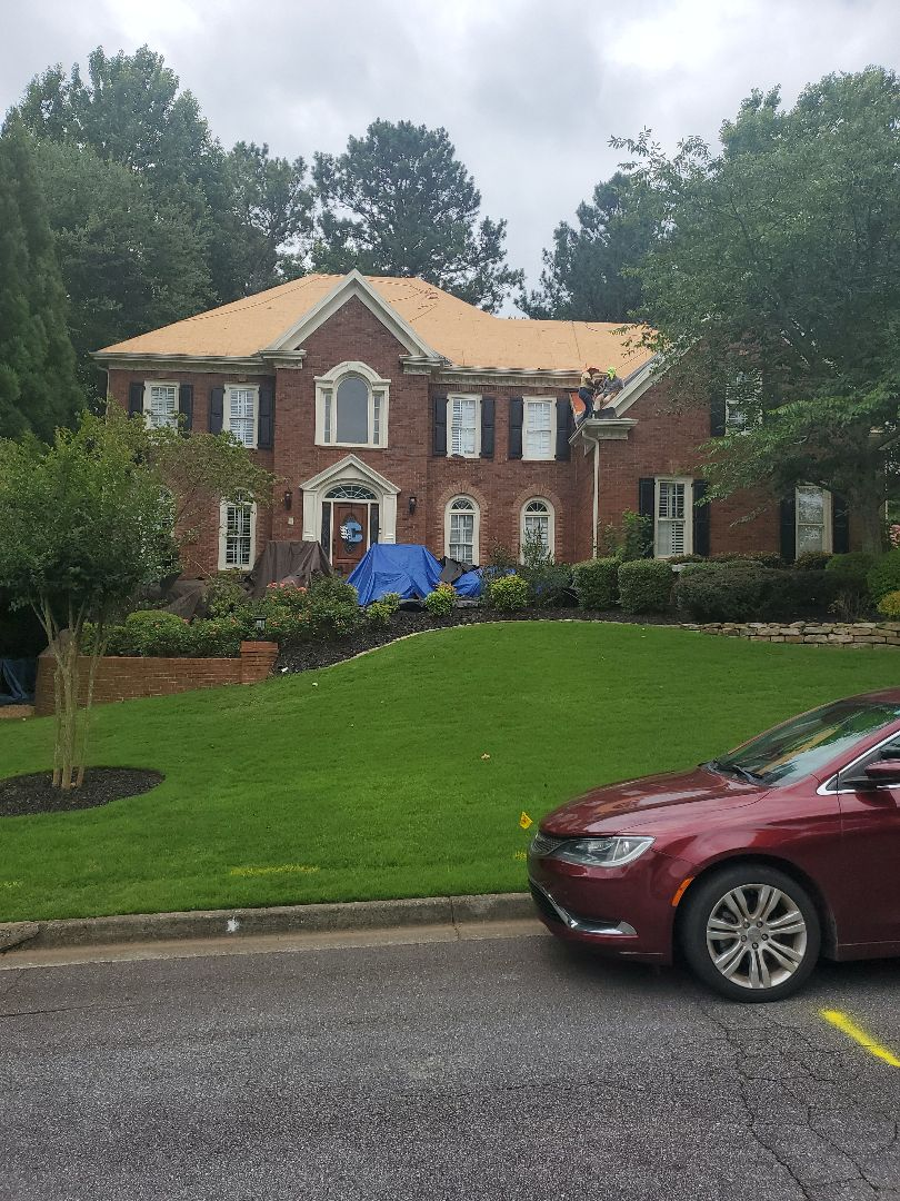 Alpharetta, GA - We're replacing the roof for Mary,Robert O,Cannell. This is a insurance claim so the insurance company paid for the roof replacement,  because of the recent storms that damaged bunch of houses in the area. Homeowners should call Future Roof and restoration llc for a free inspection to make sure if  their roof is safe. And if it is damaged by storms Future roof and restoration llc can be an advocate to the insurance companies and get your qualifications to replace your roof as well.