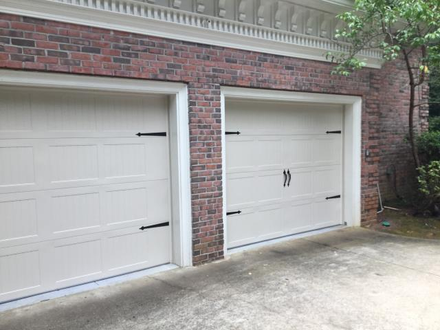 Alpharetta, GA - Installing CHI 5250 18'x7' garage door with spade stamp handle. Servicing garage door.