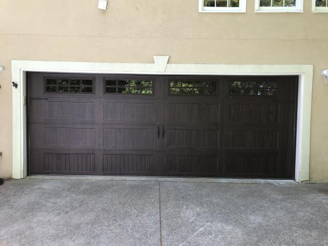 Atlanta, GA - Installed new accent series Walnut insulated steel CHI garage door.