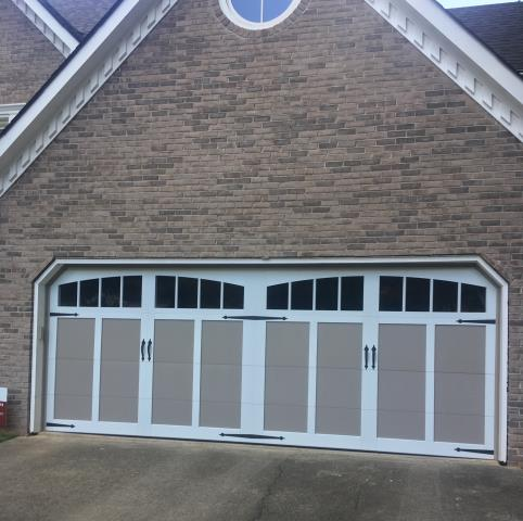 Alpharetta, GA - New Garage Door: Installing this 18x7 Carriage overlay garage door with arched windows & liftmaster 8550W.