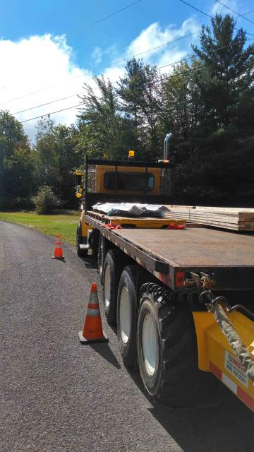 Fulton, NY - Hannibal Branch delivery this morning. Union Steel Master Rib, 2x4x16 Dimensional lumber for Purlins & Girts.