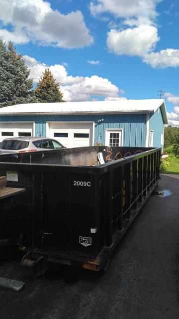 """Marion, NY - Ontario branch delivered this 20 yard dumpster to Marion NY this afternoon.  20 yard box dimensions are: 8' wide x 22' long x 51"""" high. We have a dumpster to fit your project need."""