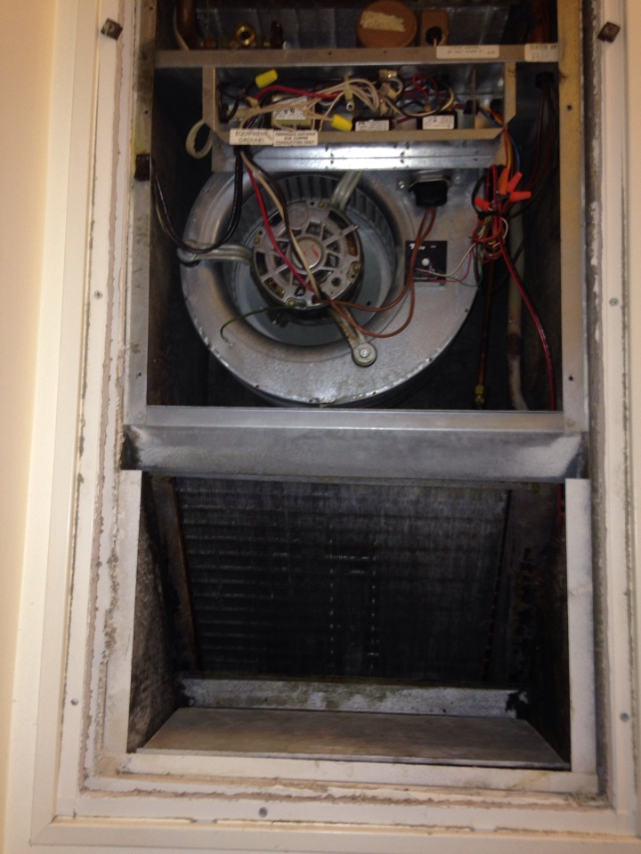 Tysons Corner, VA - Cleaned a dirty evaporator coil during a routine maintenance on a First Co. HVAC system.