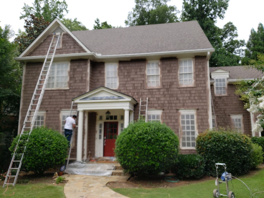 Atlanta, GA - Painting the entire exterior of the house with Solid Color Stain and Sherwin Williams Resilience