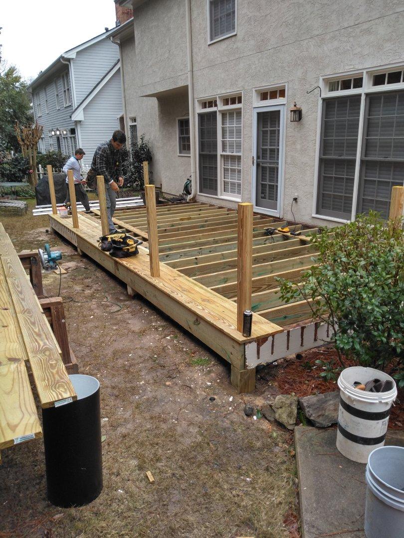 Resurfacing wood deck and new handrails