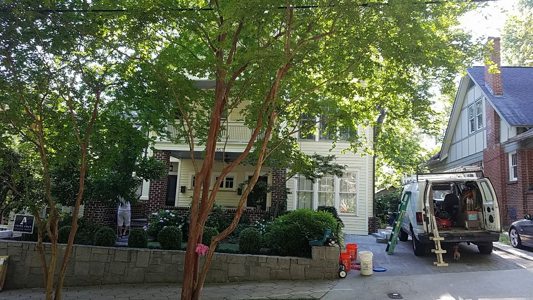 """Atlanta, GA - Replacing old siding with 5"""" lap Hardieplank siding and Painting the entire exterior including staining front porch"""