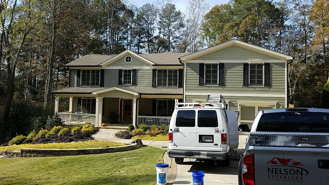 Marietta, GA - Replacing band deck handrail, soffit and fascia on the back of the house