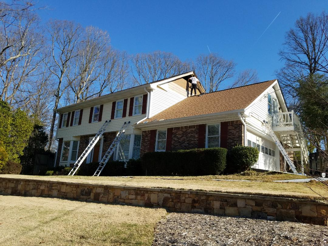 Dunwoody, GA - New HardiePlyank siding, soffit and fascia on the entire house. Also doing new gutters.