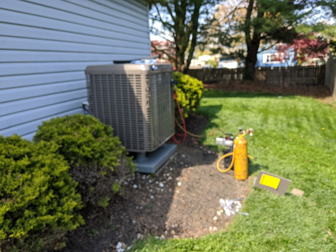 """York"" heat pump system being installed for our customer in Fairless Hills, PA"