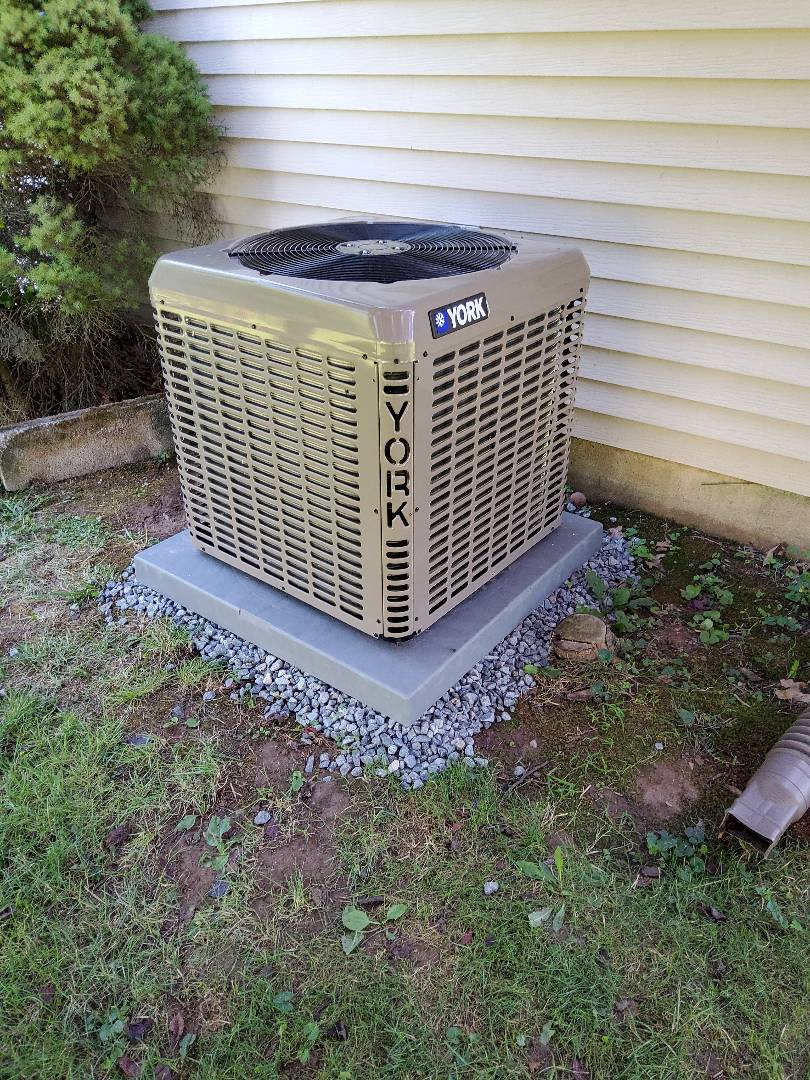 Installing new 2 ton YORK AC with matching gas heater in Horsham, PA