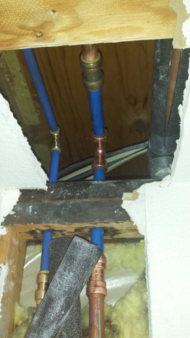 Frisco, TX - Investigate water leaking out of wall. Located very slow leak down supply lines of wall; pipe black and heavily corroded. Most likely cause electrolysis damage. Replaced copper lines with new pex pipe.