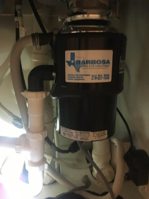 Frisco, TX - Removed existing Garbage disposal, Installed new customer provided garbage disposal , Tested operations