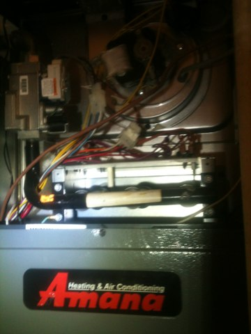 Farmers Branch, TX - Clean and check of a two speed Amana gas heater (AMVC807048...).