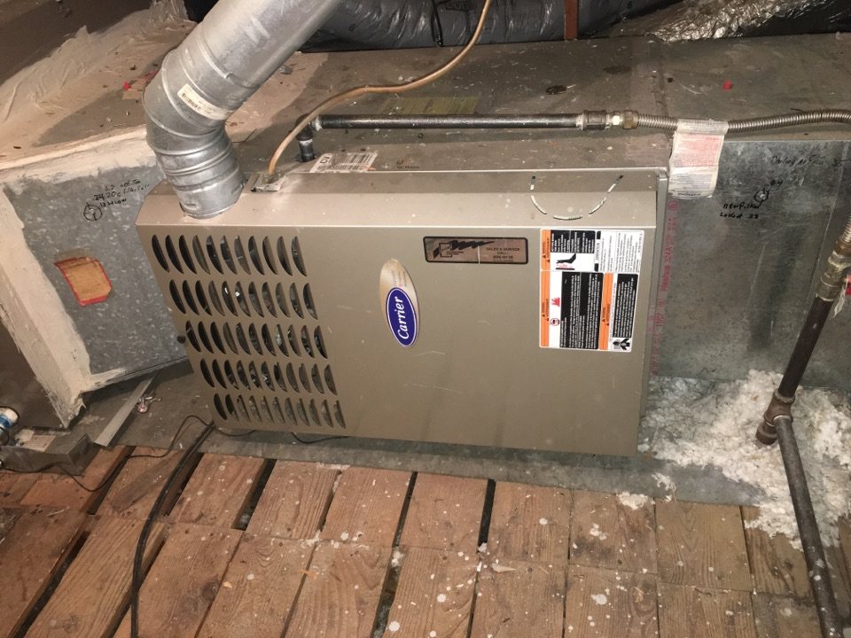 Dallas, TX - Performing a heating tune up on one Carrier gas furnace