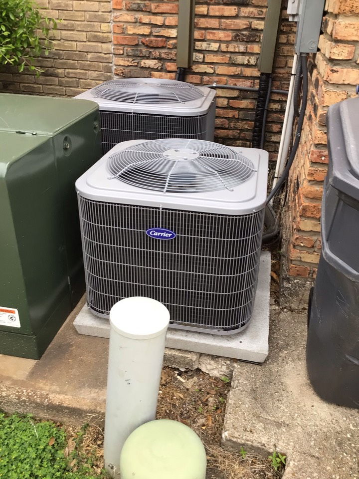 Dallas, TX - Performing an air conditioning tune up on two Carrier systems