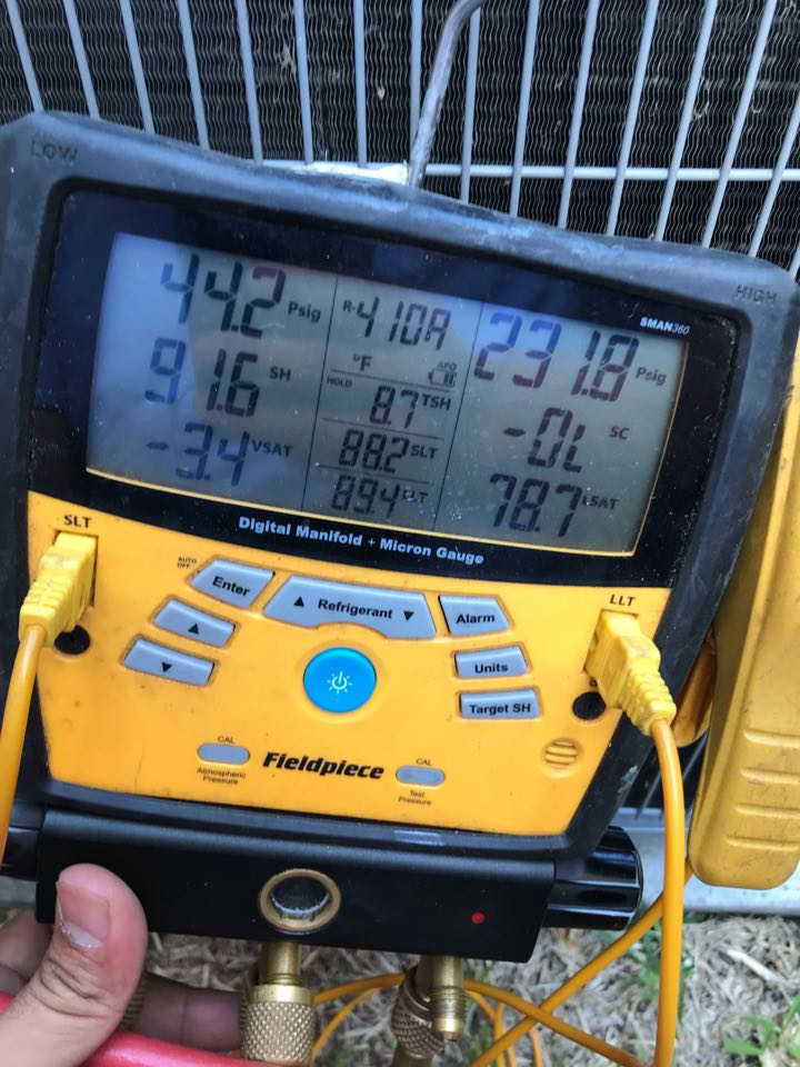 Lewisville, TX - Air conditioning service call, low on refrigerant