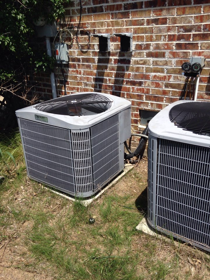 Oak Point, TX - Air conditioning repair service and maintenance on two ac systems.