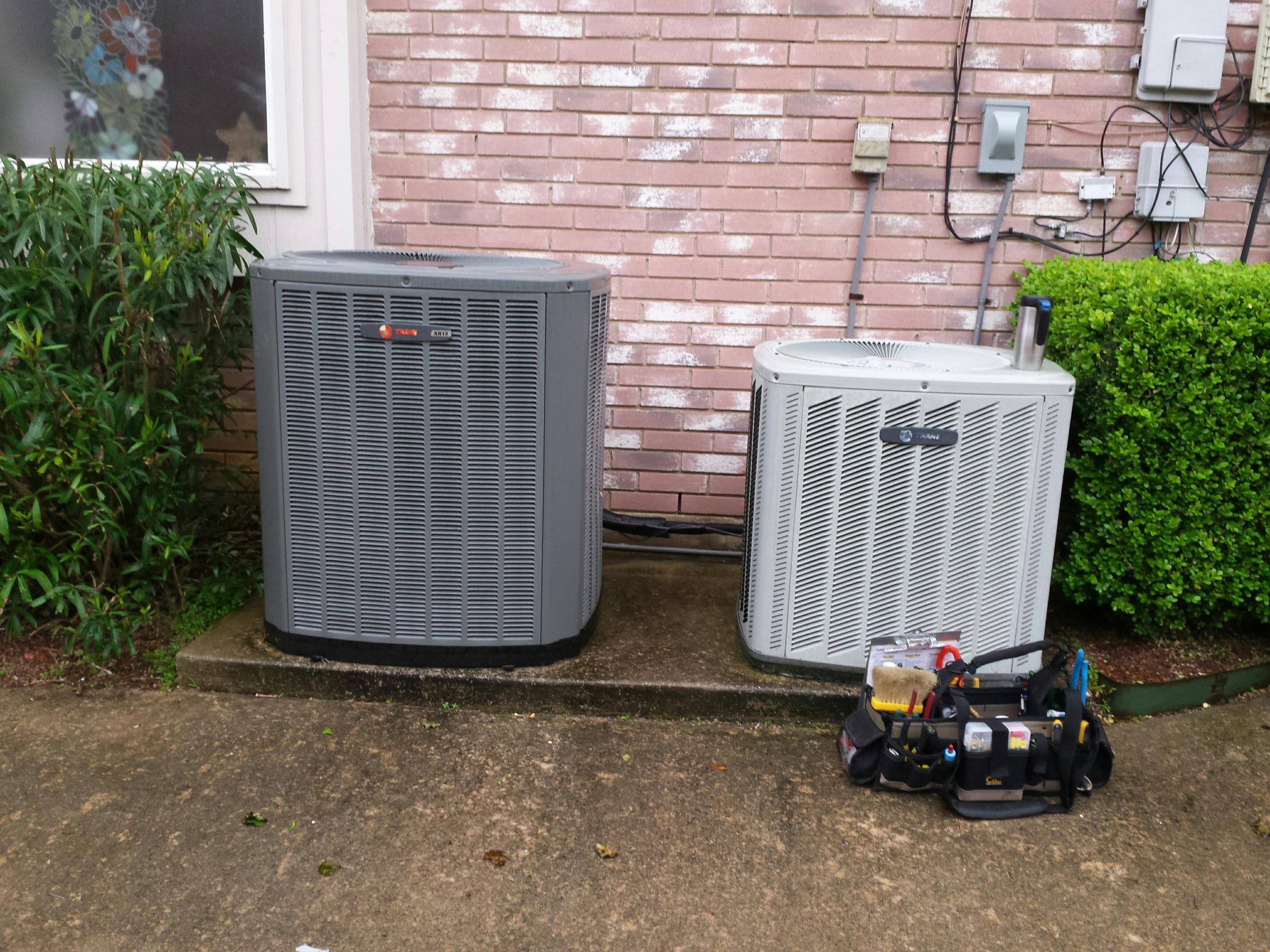 Highland Village, TX - Performing seasonal cooling tuneup and inspection on a TRANE system.